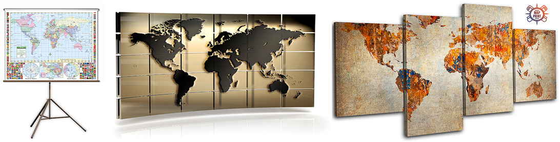 Широкоформатные настенные карты
