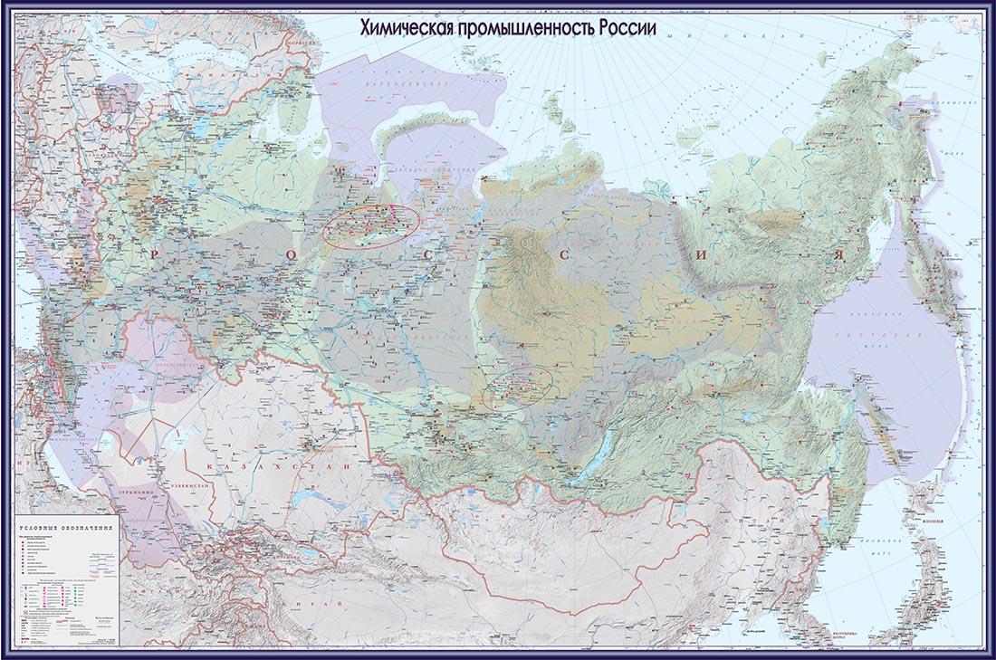 Настенная карта России с обозначением точек дистрибьюции