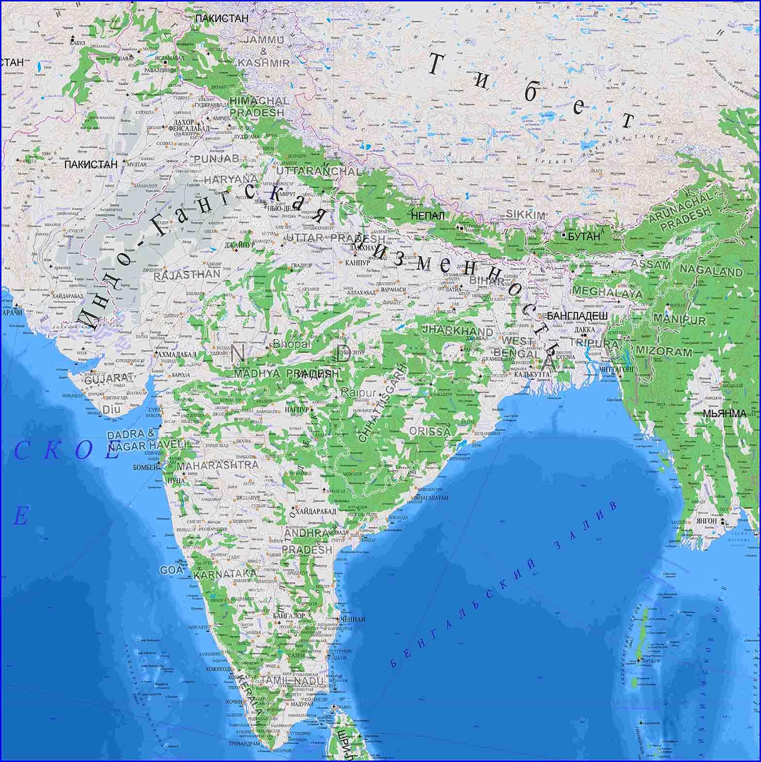 изготовление настенной карты Индии