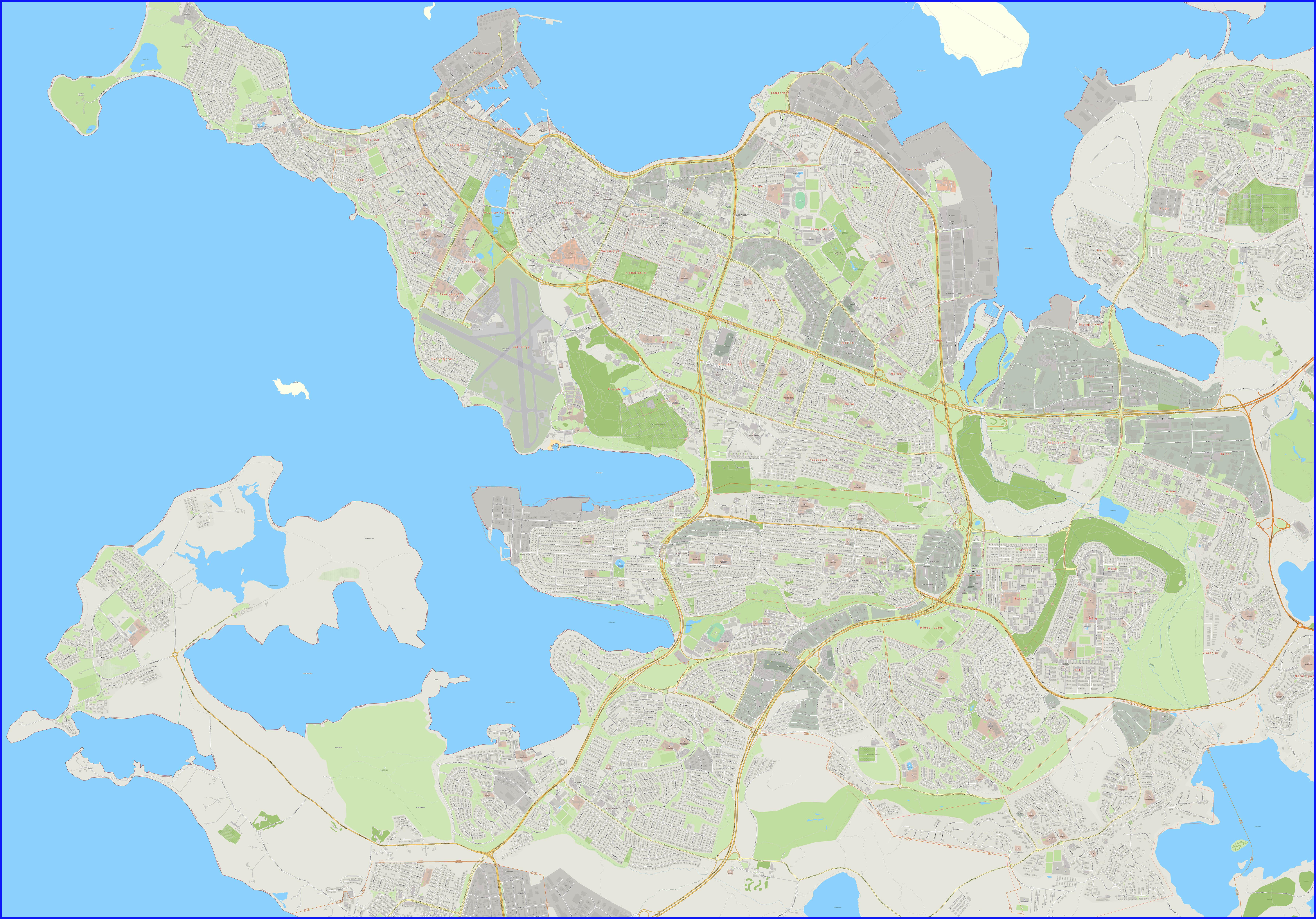 Подробная карта города Рейкьявик