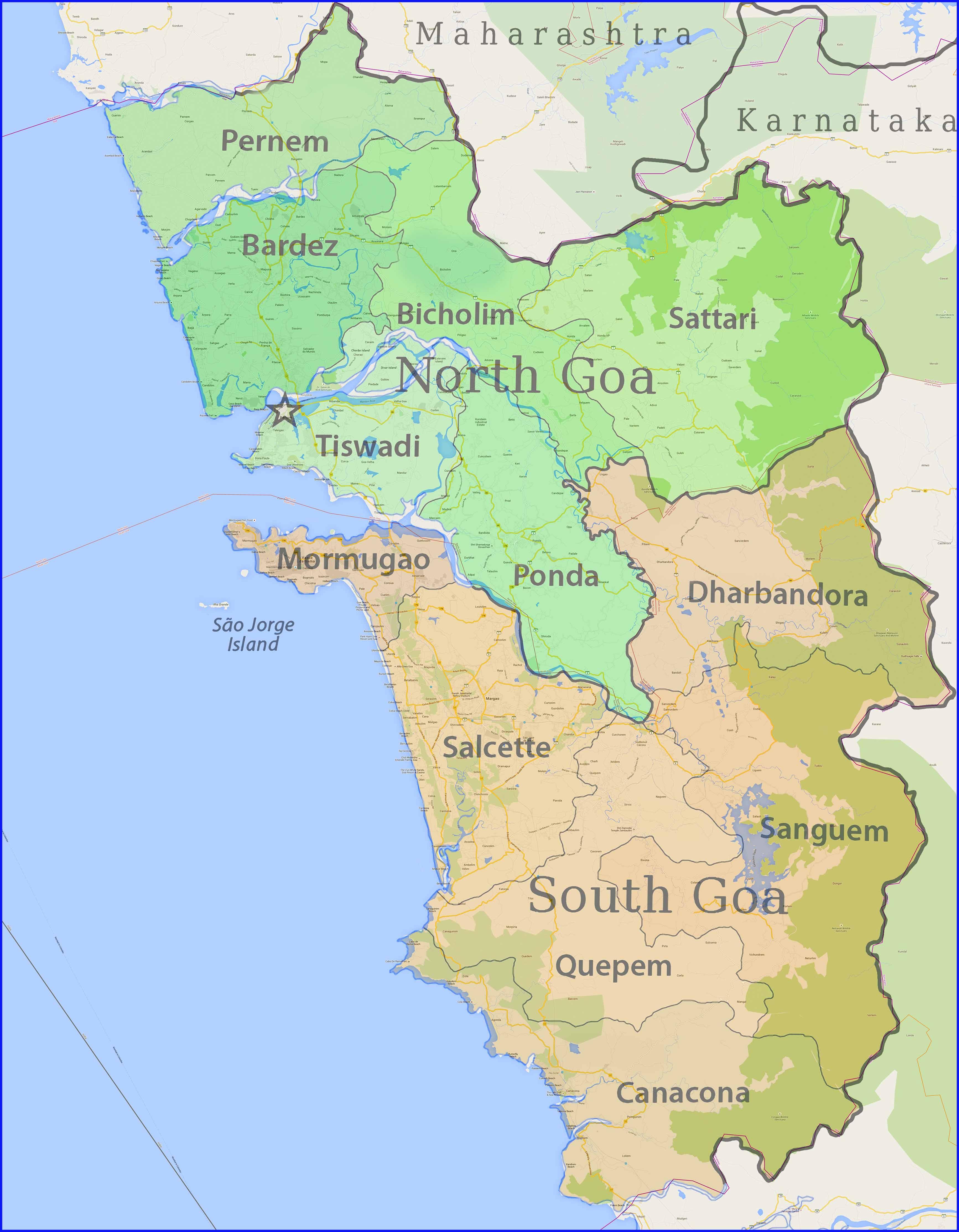 Большая карта Индийских штатов Гоа