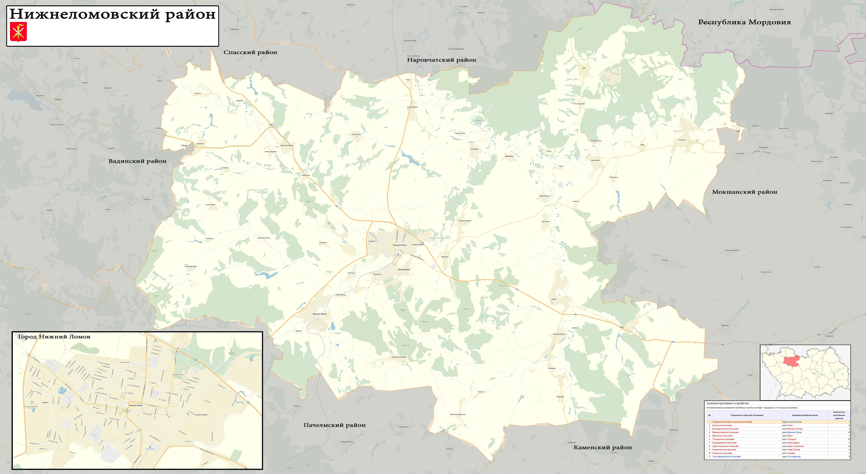 карта Нижнеломовского района