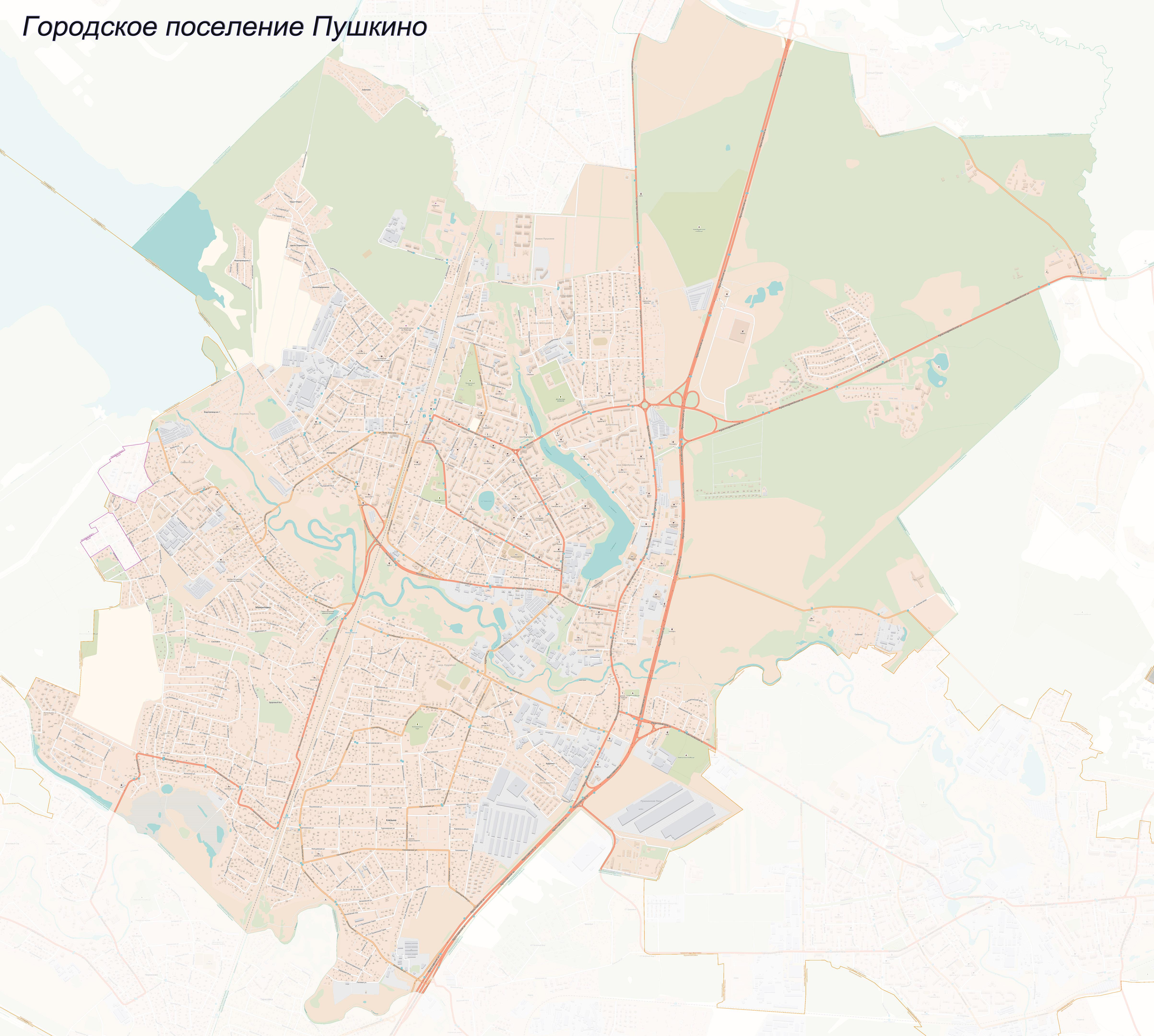 Карта городского поселения Пушкино