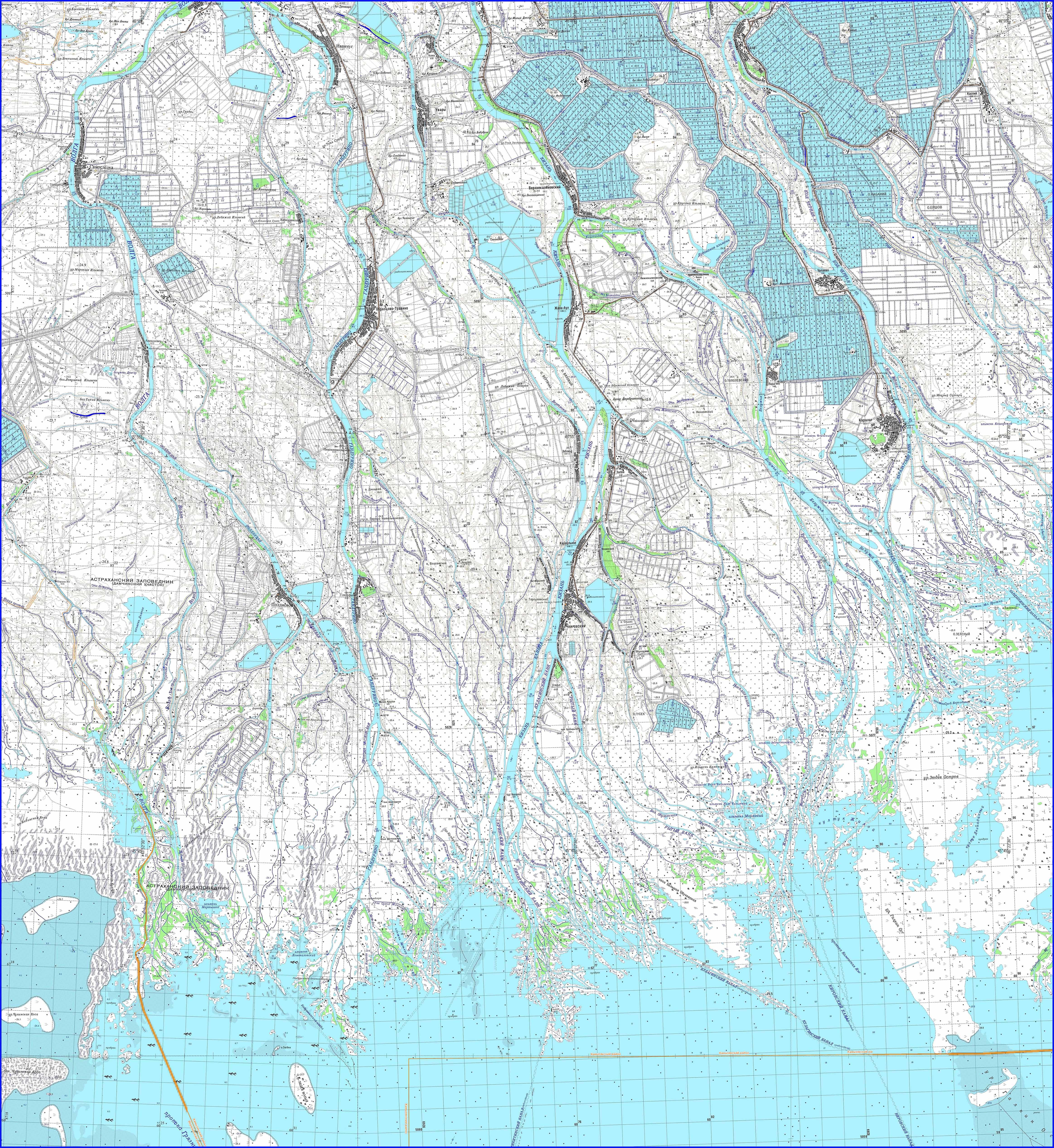 Карта волжских раскатов для рыболовной базы
