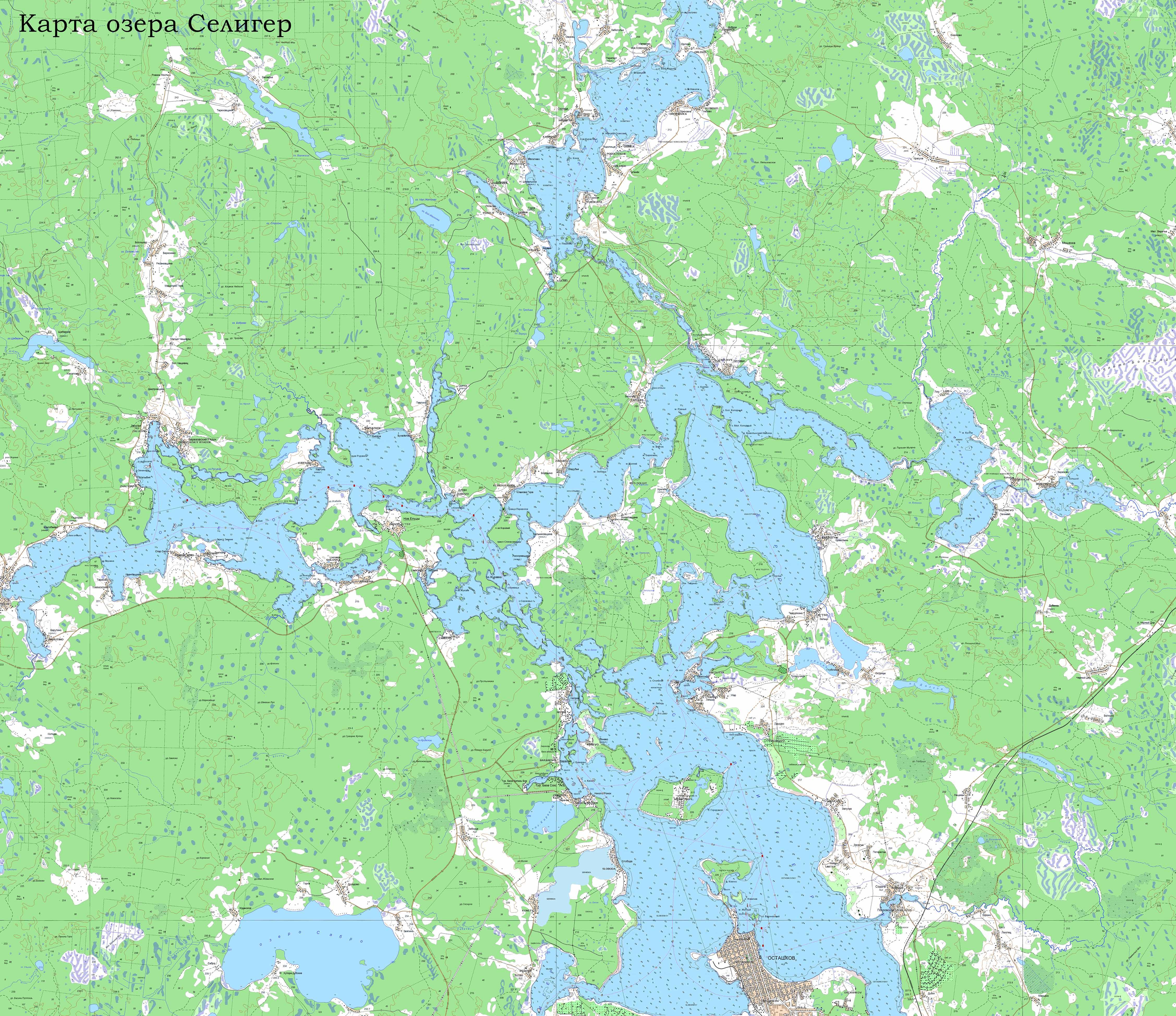 Карта озера Селигер и окрестностей топографическая с глубинами