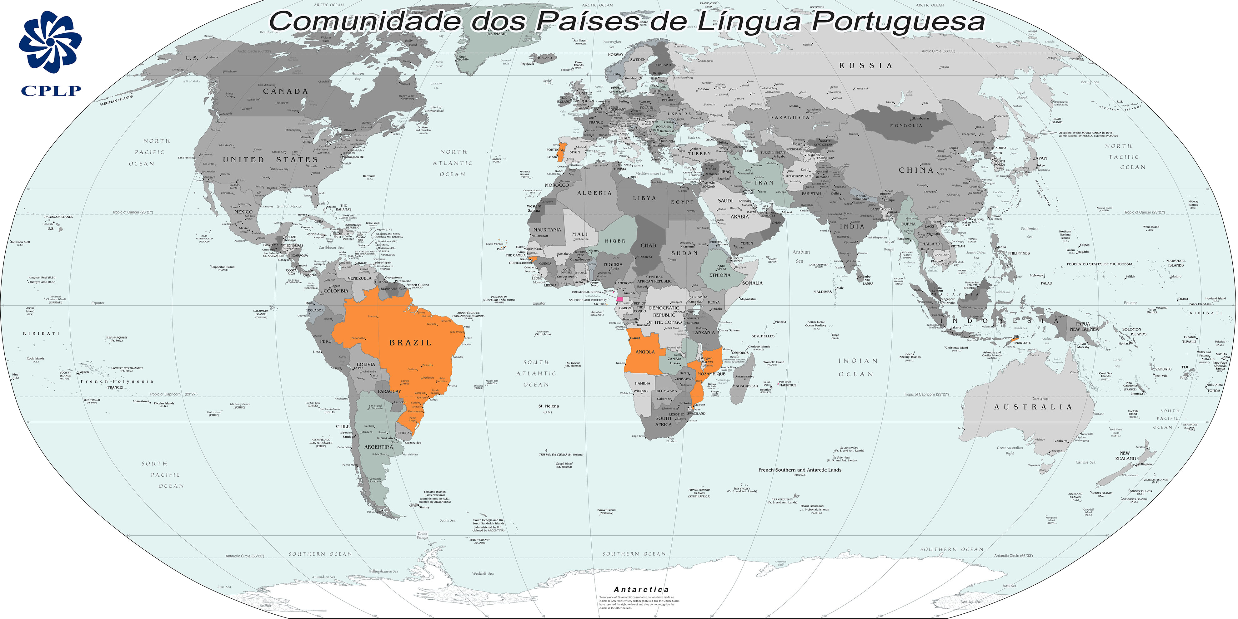 Карта португало-говорящих стран
