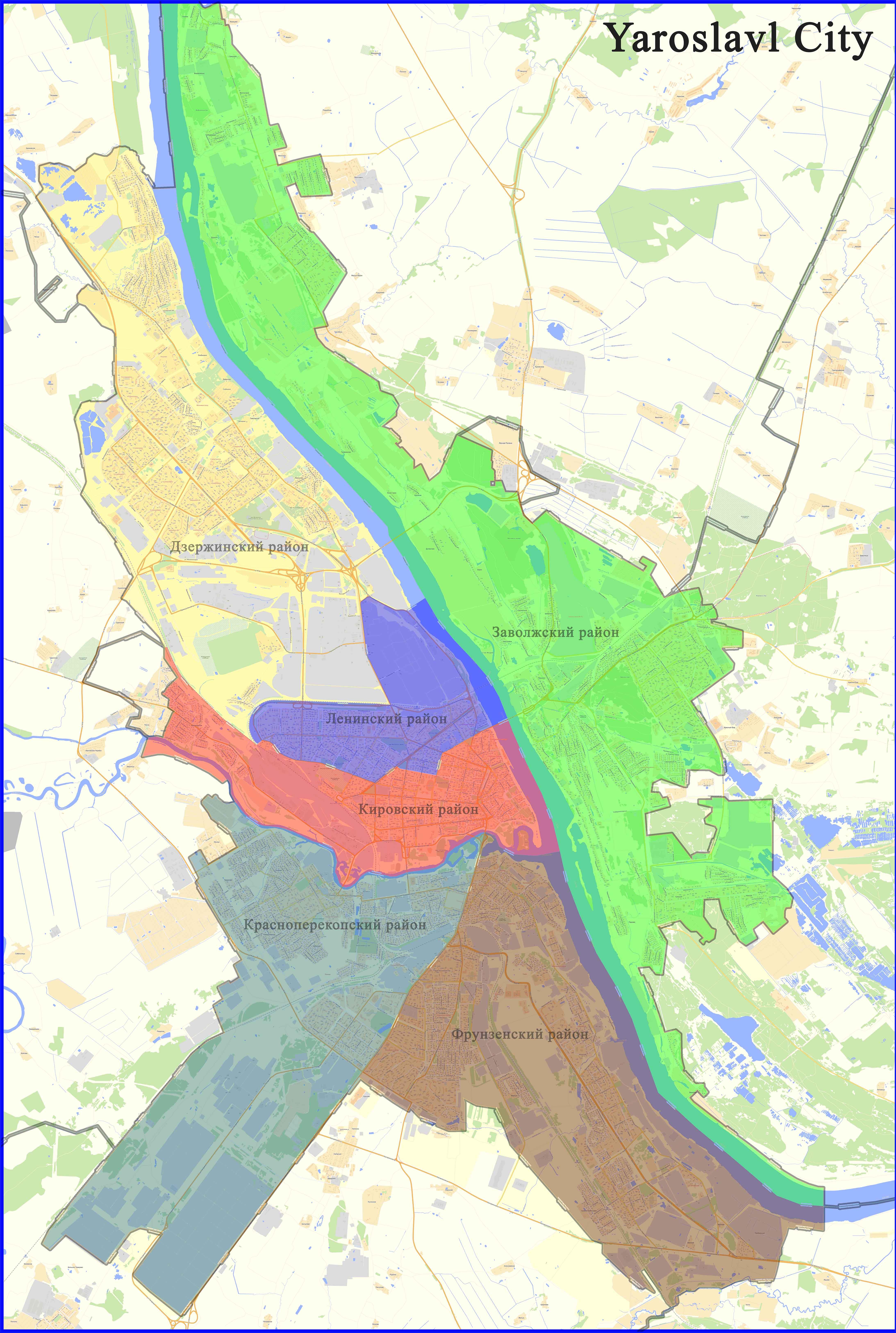 Административная карта Ярославля