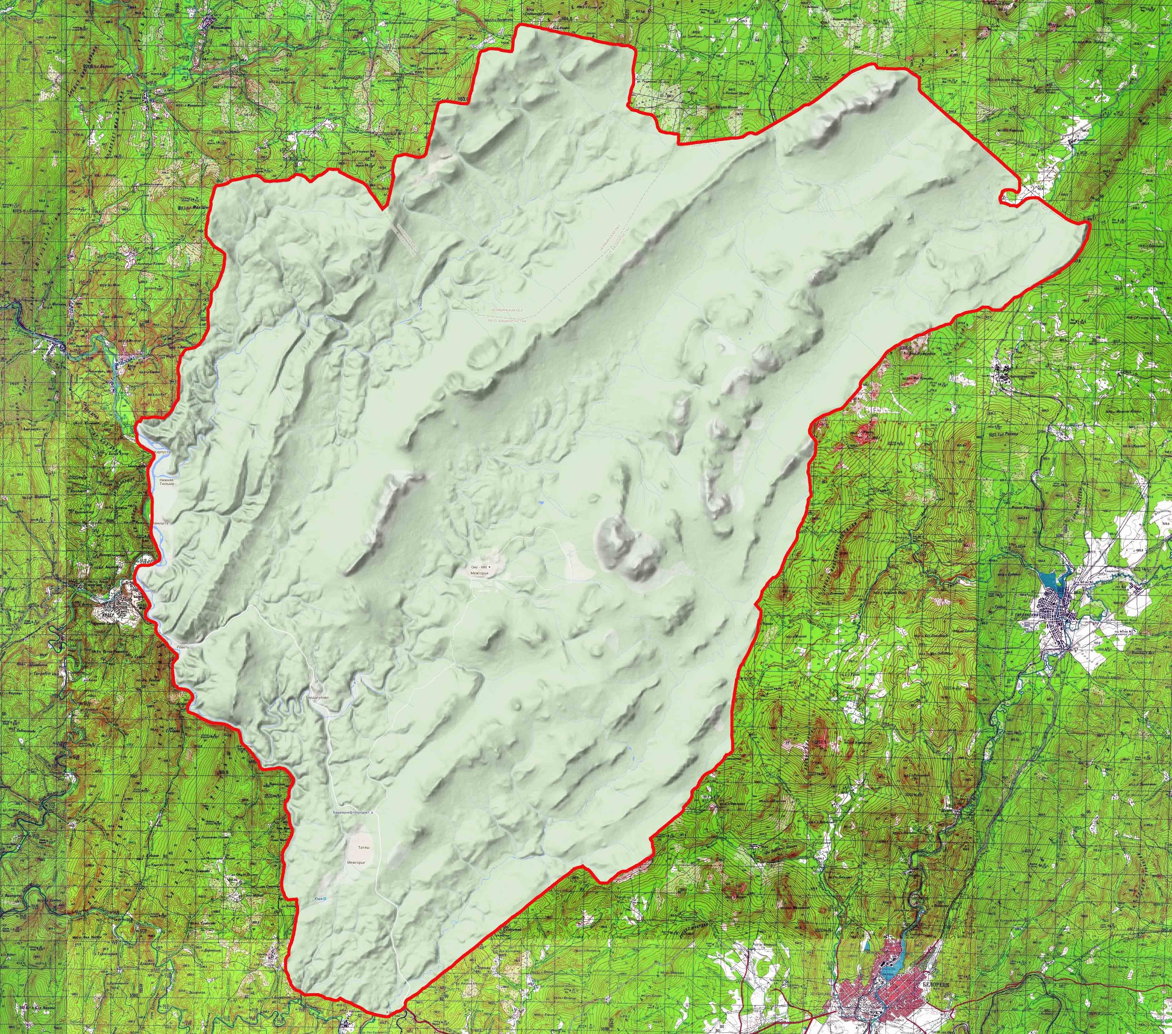 карта Челябинского заповедника
