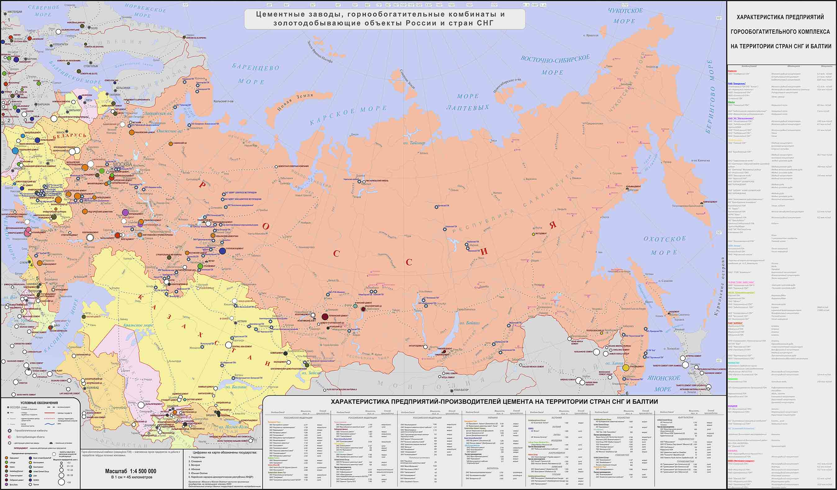 Карта Горно-обогатительных комбинатов