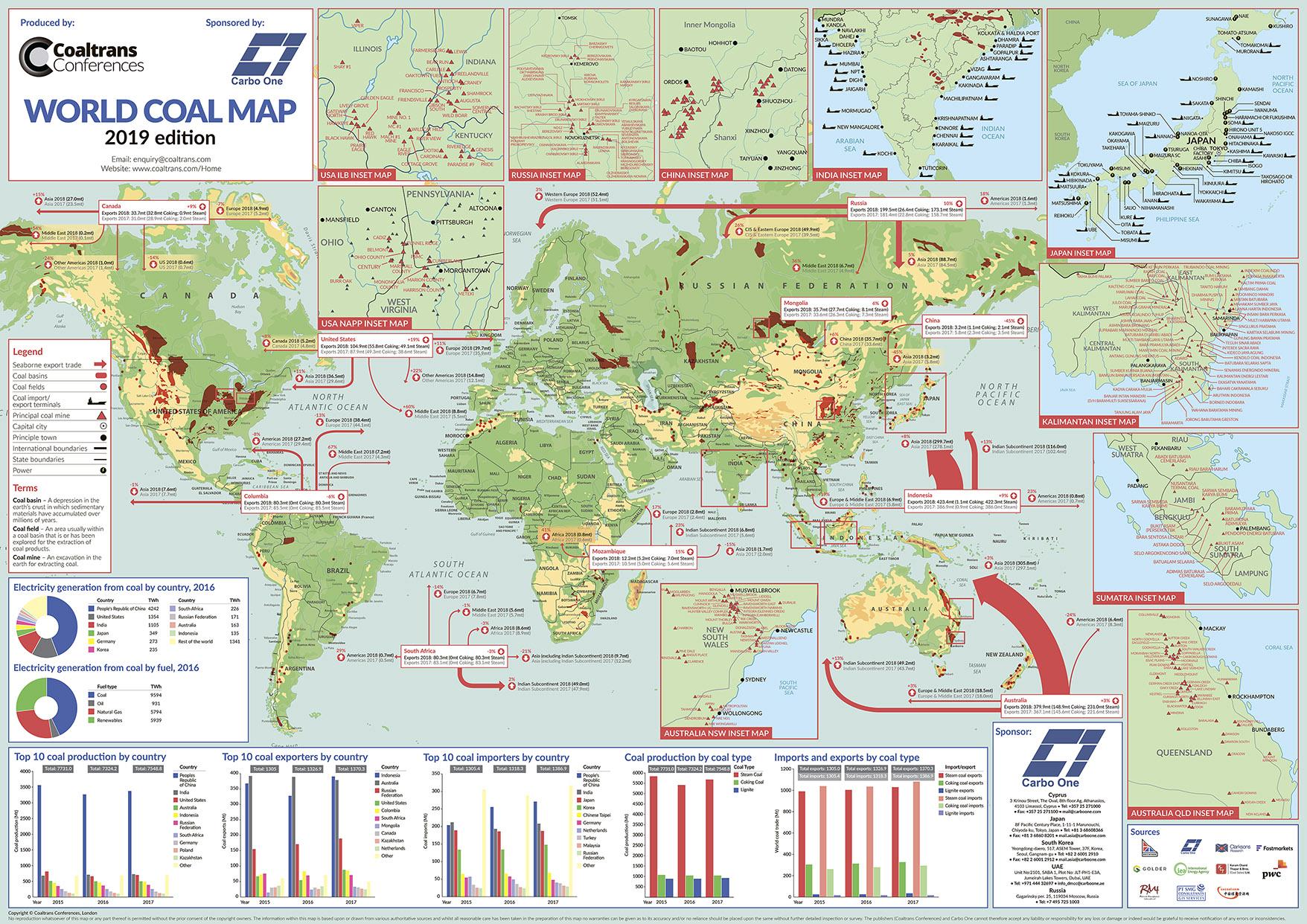карта угольных месторождений