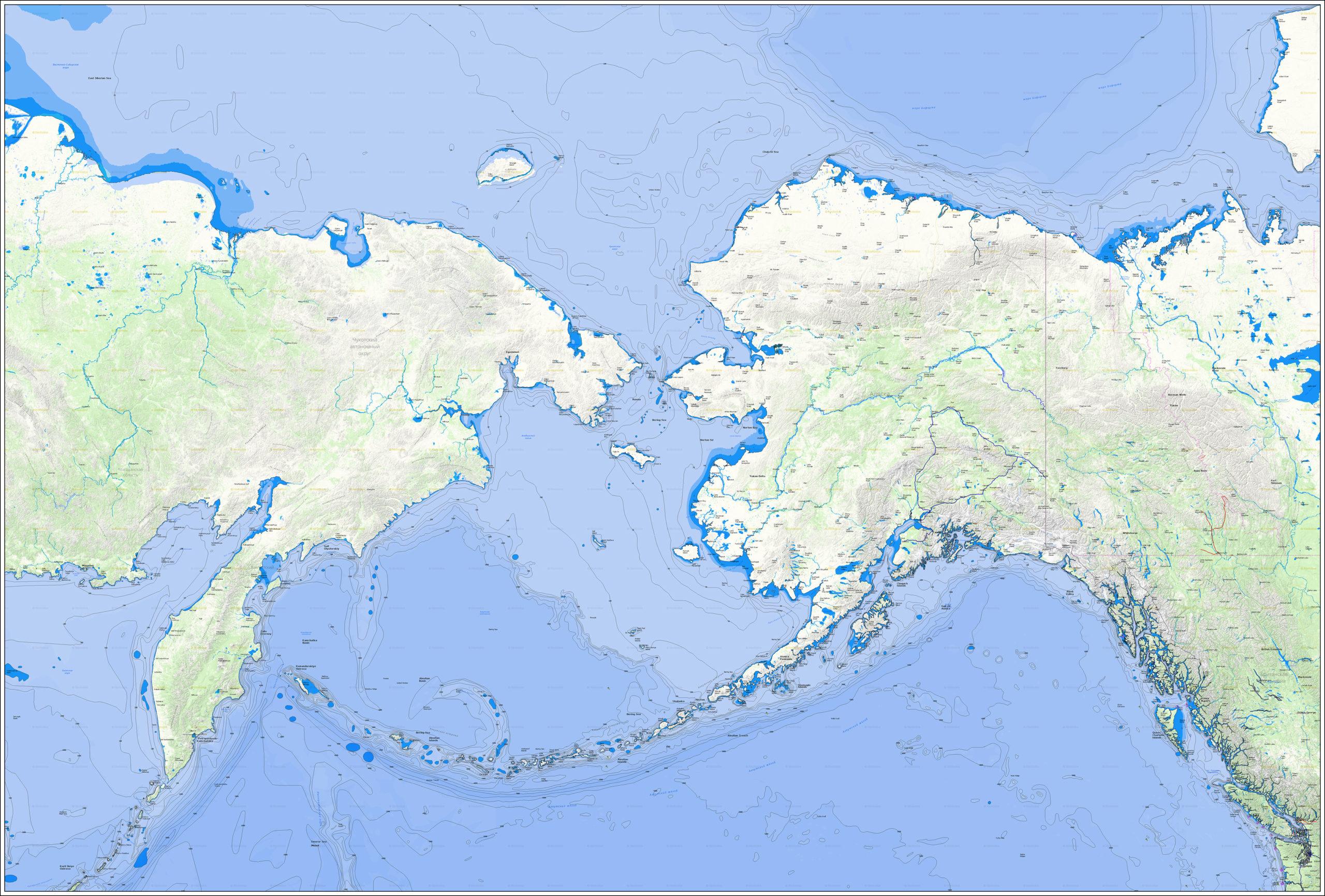 Настенная карта Чукотки и Аляски с проливом