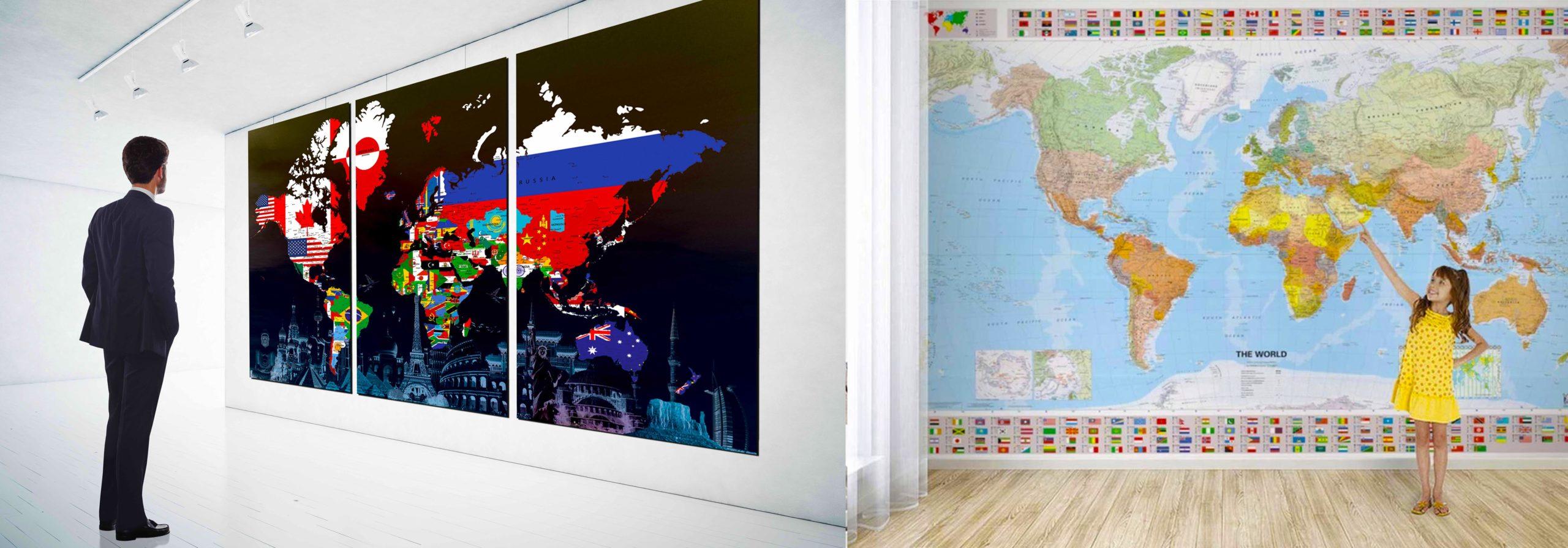 Изготовление географических настенных карт